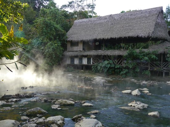 Santuario Healing Ayahuasca Center: View of the main house from thermal river