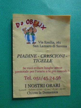 Piadineria da Obelix: Menu'