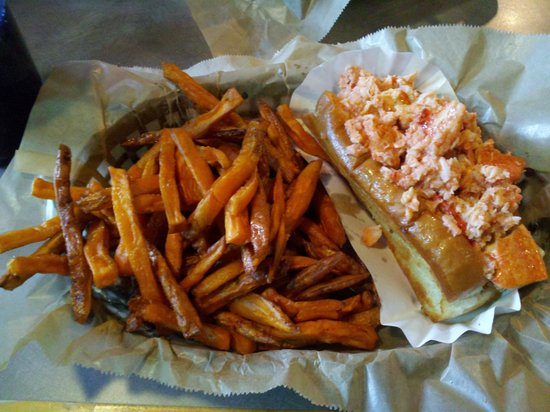 Lobster Shanty: Connecticut style lobster roll with sweet potato fries ...