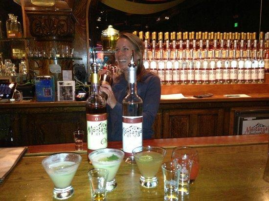 Montanya Distillers : Bartender Meredith delivers our order