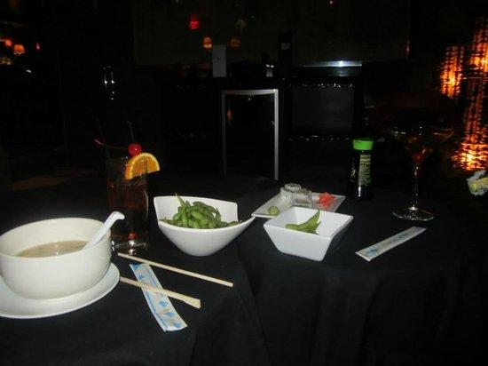 Skybar: Miso soup, Edamame, California Rolls