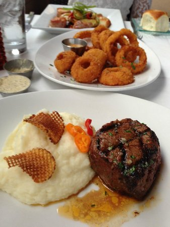 333 Pacific - Steaks & Seafood: 8 oz Filet with garlic mashed potatoes. Side order of Onion Rings.