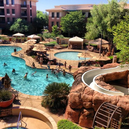 The Westin Kierland Villas: View from 3rd floor to pools and pool slide