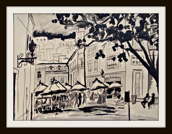 Cristi Fer Art Gallery and Workshops: Recent work, Guanajuato plaza, acrylics with watercolor technique