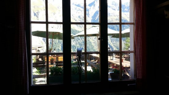 Pension Gimmelwald: view from inside bar - wow !