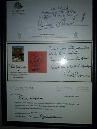 Restaurant Le Gambetta : Félicitations de Grands Chefs