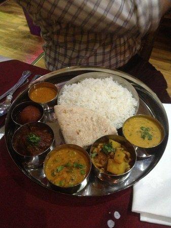 Kathmandu Zone Restaurant & Banquet: rice, lamb and Nepalese spicy sauce