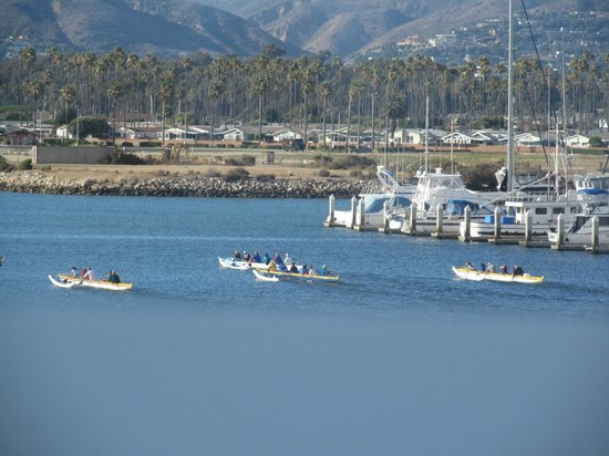 Brophy Bros. Seafood Restaurant & Clam Bar: Canoes in Ventura Harbor--from our table at Brophy Bros.