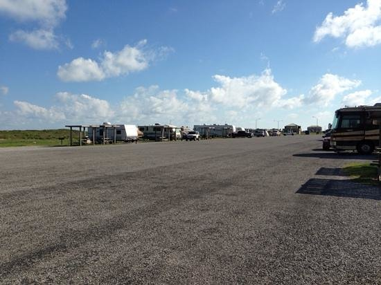 Mustang Island State Park: Trailers in a row.