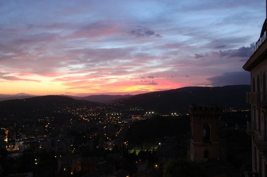 Sina Brufani: View to the North West from the second floor at dusk.