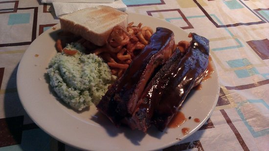 Hickory Pit Bar-B-Que: Spare ribs, cole slaw, curly fries and Texas toast.