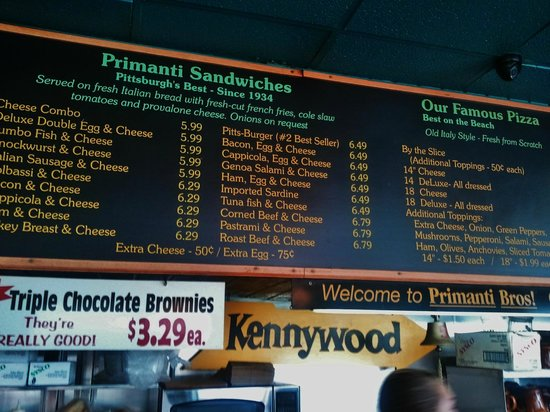 Primanti Brothers Restaurant: Affordable Menu Selections
