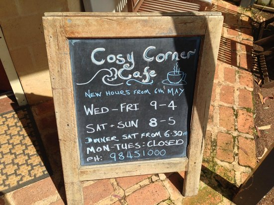 Cosy Corner Cafe and Shop: Opening Hours