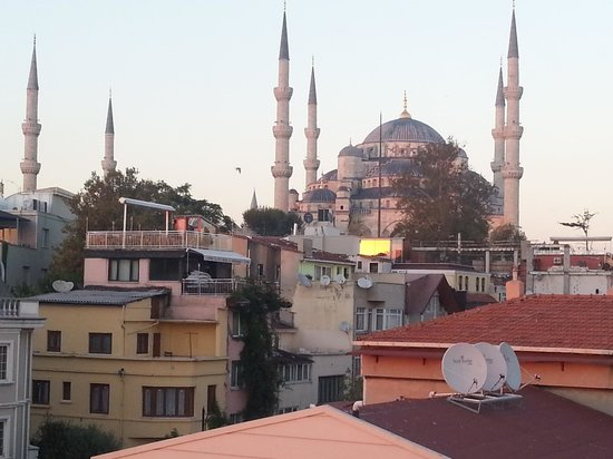 Albinas Hotel: Blue mosque from hotel-roof terrace.