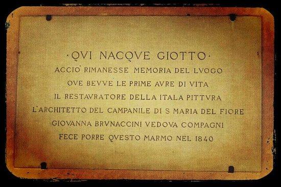 B&B Mamma Serena: Plaque on Birthplace of Giotto to Vespignano - Vicchio