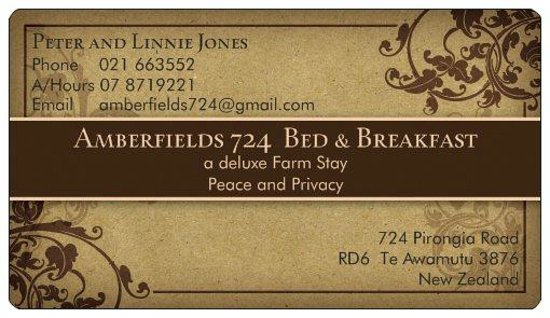 Amberfields Bed & Breakfast: After a busy business meeting, overnight here