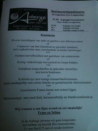 Auberge aan het Hof: het menu