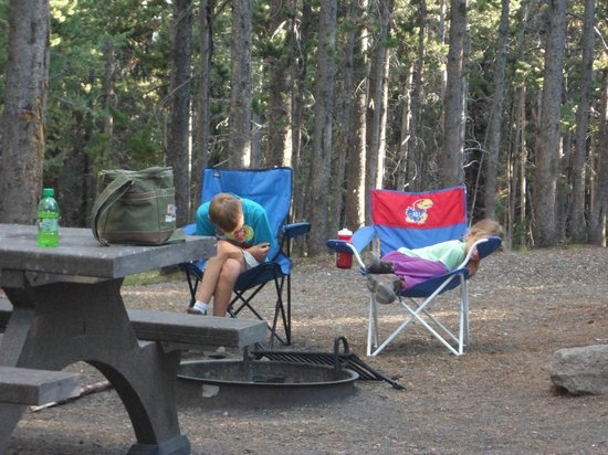 Canyon Village Campground : Tired kids after a long day at Yellowstone
