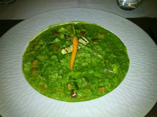 Petit Comite: Risoto verde de espinacas con verduras