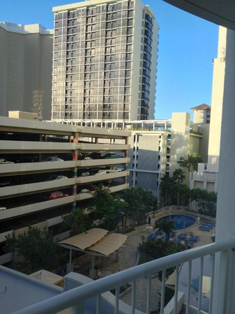 Wyndham at Waikiki Beach Walk : View from our hotel window - pool and hot tub