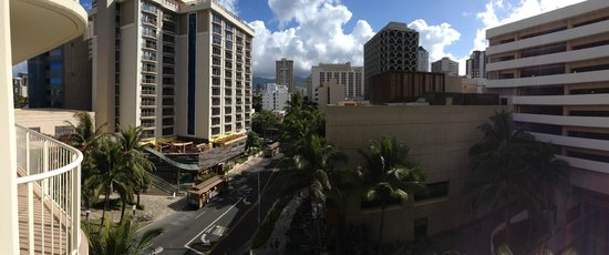 Wyndham at Waikiki Beach Walk : View from our friend's room overlooking Don Ho Blvd.
