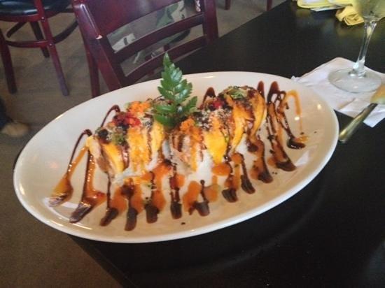 Mango Tango Roll Raw Fish With Shrimp Tempura Inside Mango And