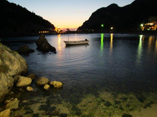 Paleokastritsa Beach at night