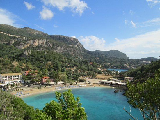 Paleokastritsa Beach : View of beach from the Monestry