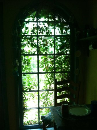 Enchanted Cottages: window in kitchen by backdoor leading to hot tub