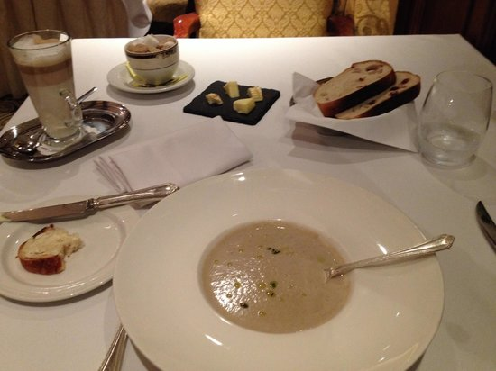 The Barn Hotel: Mushroom soup sprinkled with truffle oil