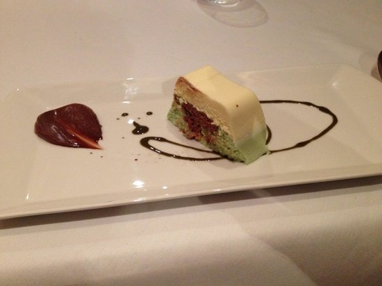 The Barn Hotel: White and milk chocolate mousse with pistacio