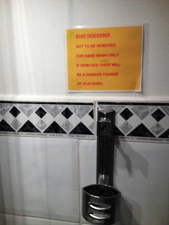 Abbott Lodge: nessun tipo di sapone nel bagno e la bustina x la doccia a pagamento