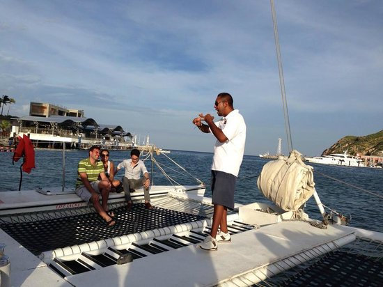 """La Princesa Catamaran: Getting our cheers and instructions to have a good time at the start of the cruise from """"Poppy"""""""
