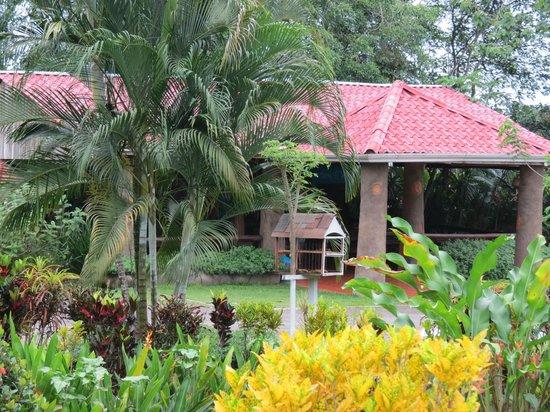 Hotel Arenal Montechiari: Desayunador y jardines