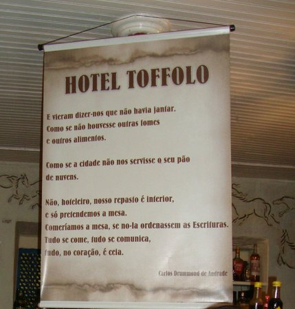 Hotel Toffolo: Poesia de Drummond feita especialmente para o local