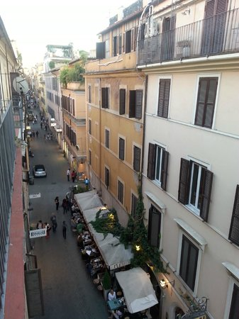 Hotel Piazza di Spagna: view from room looking left down Via Mario de'Fiori