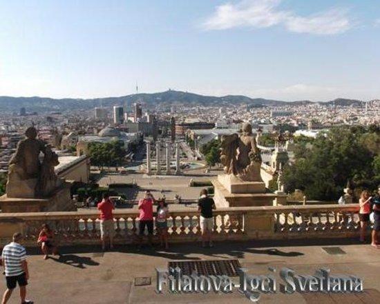 ปาร์คเดอร์มุงต์จุยค์: Вид на Площадь Испании и Волшебный фонтан (Fuentes Montjuic)