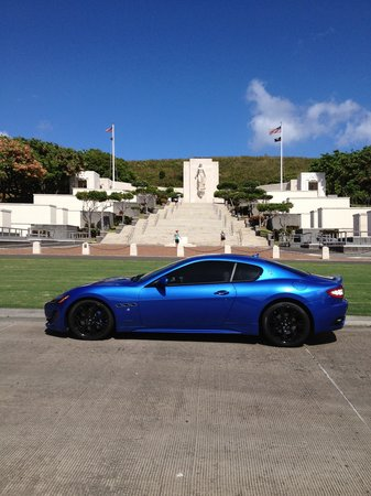 National Memorial Cemetery of the Pacific: Memorial (with a Maserati in the foreground)