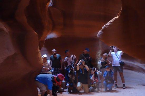 Antelope Canyon: photo tour group behind our tour
