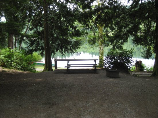 Inland Lake Provincial Park: Campsite with view of the lake.
