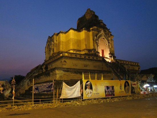 SpiceRoads Cycle Tours - Chiang Mai Day Tours: Night time shot of a  relic damaged by earthquake.