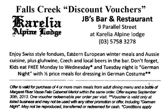 JB's Restaurant: JB's Discount Voucher conditions