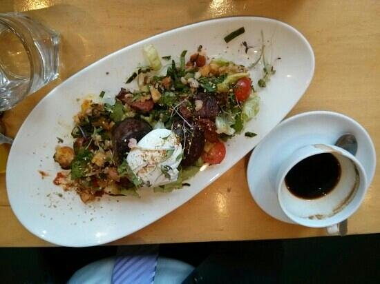The Little Ox: breakfast salad of chorizo, black pudding, potato