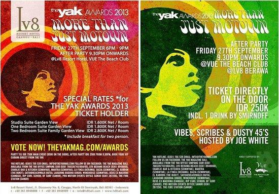 The Yak Awards 27 Septemnber 2013 at Vue Beach Club of Lv8 Resort Hotel Canggu Bali