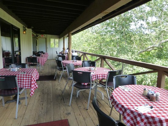 The Hideaway Family Restaurant: seating on the porch