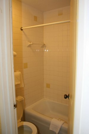 Americas Best Value Inn - Marion: Basic small bathroom, toliet / bath-shower only in room.