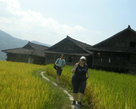 Yangshuo Private Tour-Day Tour: Sabrina and Alessio at Longji rice terraces area.