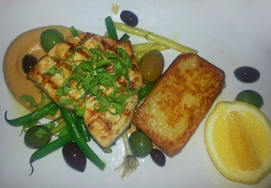 Terra Rossa Restaurant & Bar: char grilled swordfish steak with fennel cream, fondant potato, sautéed olives and lemon ($35)
