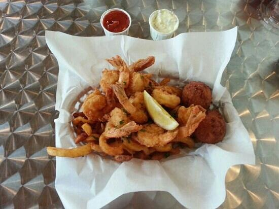 Timoti's Seafood Shack: Shrimp basket, they even had honey to dip hushpuppies. I know, but try it