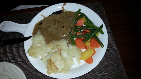 Salt N Pepper Bistro: flat iron steak with scalloped potatoes..